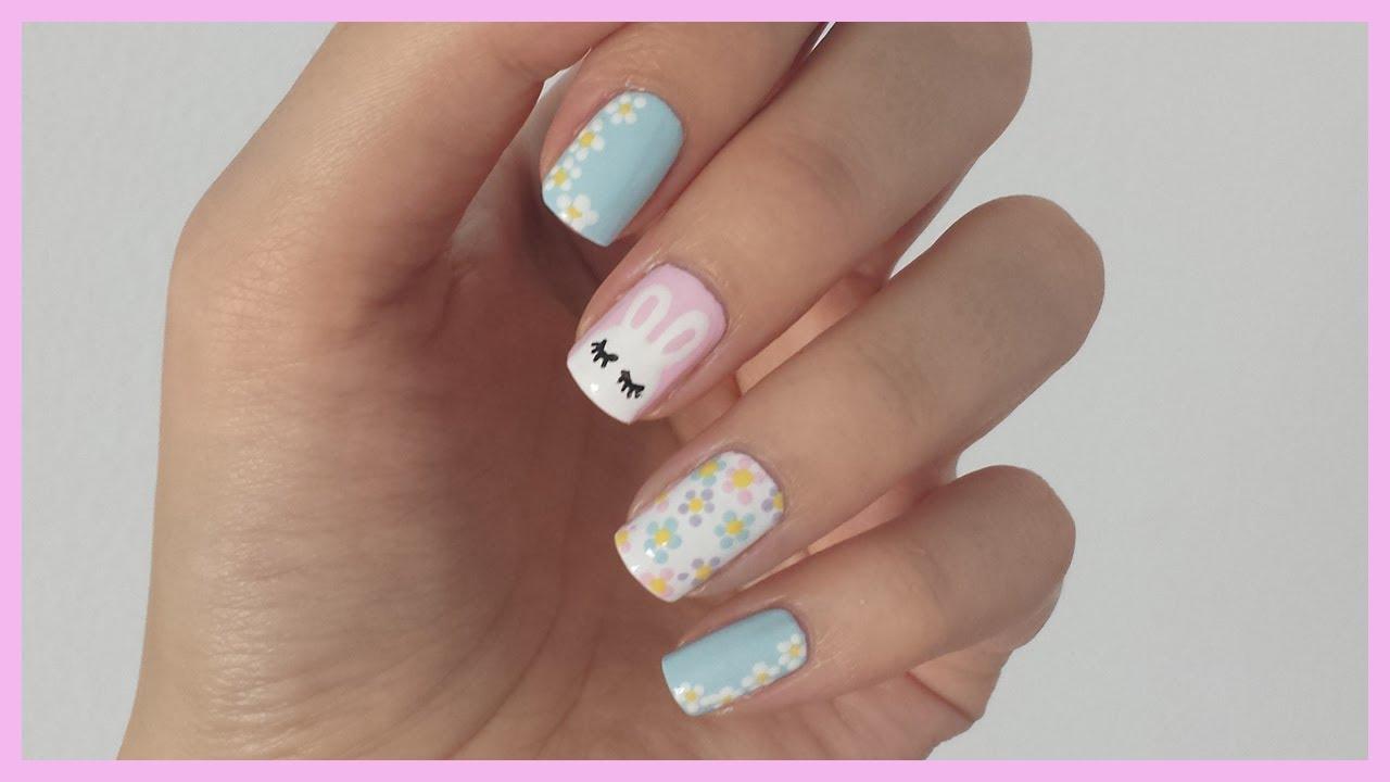 Spring Nail Art! Bunny + Flower Design - YouTube