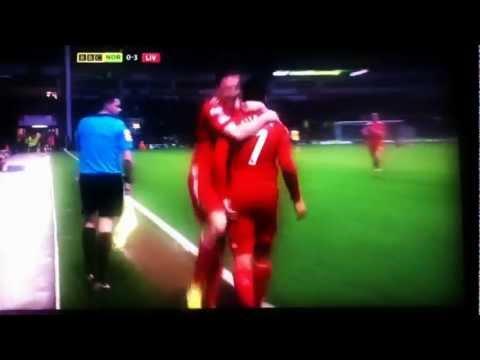 Luis Suarez v Norwich Halfway goal
