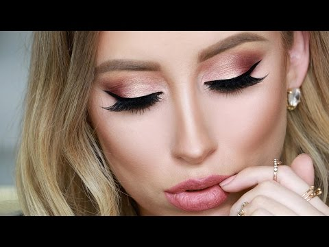 Huda Beauty Rose Gold Palette Makeup Tutorial & Full Foundation Routine