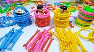 Đồ chơi Doremon - Nobita xếp hình với Xuka và những vòng tròn lắp ghép