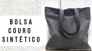 Como fazer bolsa preta com couro sintético -  Roupas Feitas por Mim