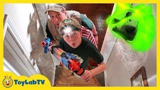 Giant T-Rex Dinosaur Skeleton in Haunted House! Family Fun Kids Halloween Ghost Hunting Adventure