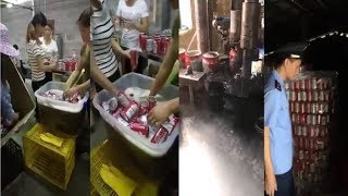 Illegal Chinese Factory Making FAKE Budweiser Beer Cans