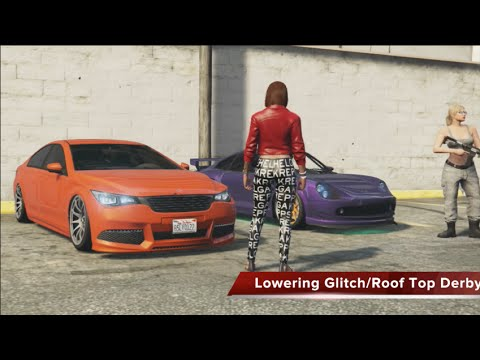 GTA 5 XB1 - Lowering Glitch/Roof Top Destruction Derby w/Crew (Funny Moments)