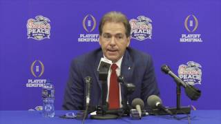 Nick Saban Press Conference as Alabama arrives at Peach Bowl