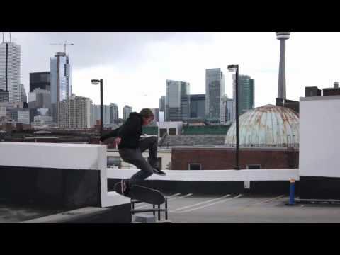 Eric Jensen playing around in a parking garage