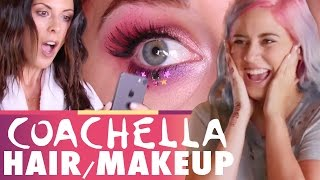 COACHELLA Hair & Makeup!! (Beauty Trippin)