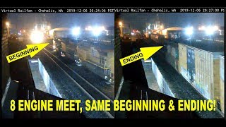 EIGHT ENGINE (ON BOTH TRAINS!) MEET!  SAME START AND ENDING POSITION! CHEHALIS, WA