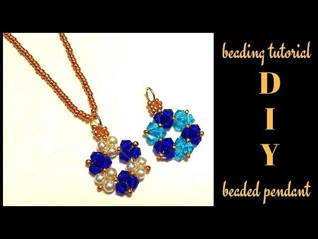 5 mins diy pendant. Beading tutorial for beginners. Beaded pendant.