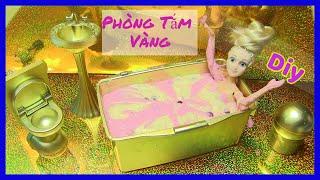 Hướng Dẫn Làm Phòng Tắm Vàng Dễ Thương Cho Búp Bê (chi bi do) DIY Golden Bathroom For Doll
