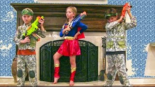 Little Heroes 11 - Kids Nerf War Movie with the Adventure Kids and Supergirl