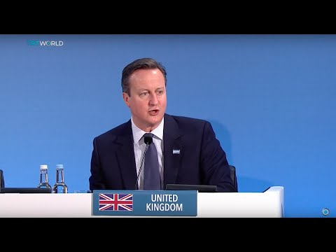 UK Prime Minister David Cameron speaks at a donation conference for Syria
