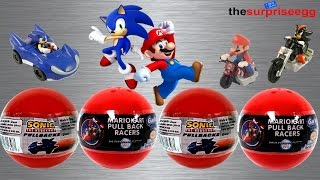 Mario Kart Wii - Sonic the Hedgehog pullbacks Gacha TOMY surprise balls toys unboxing opening