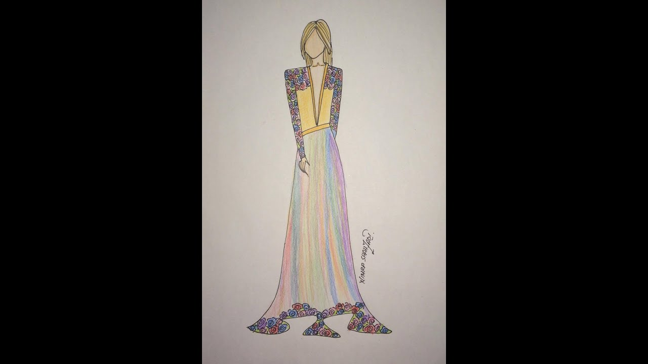 Fashion sketches colored pencils 11