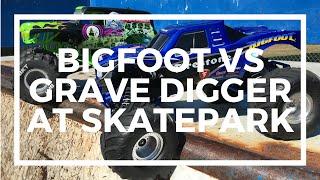 Traxxas Bigfoot Vs Axial Grave Digger at the Skatepark - Driftomaniacs