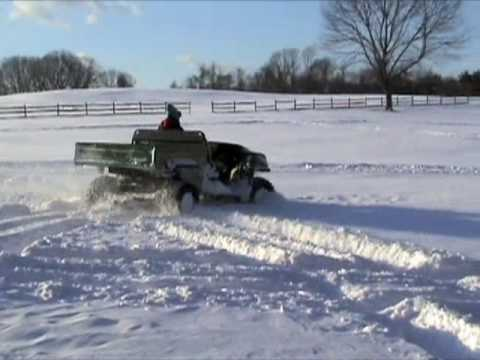 Turbocharged John Deere Gator HPX Diesel playing in the snow