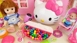 Baby doll and Hello kitty candy beauty box toys play