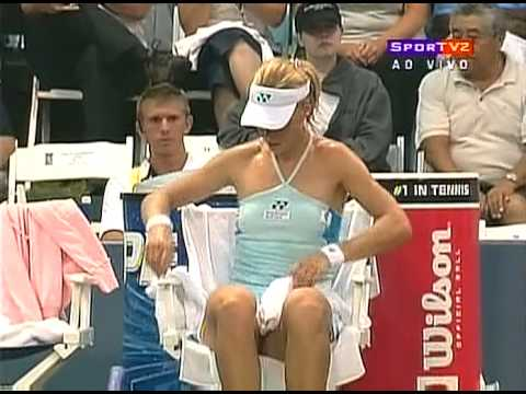 Elena Dementieva all sweaty bending over in tight shorts