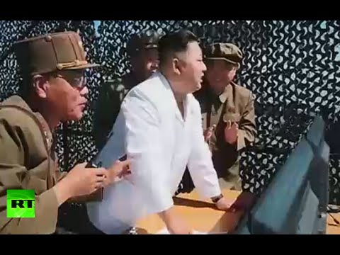 Ground test of new high-power rocket engine in North Korea (state TV report w/subtitles)