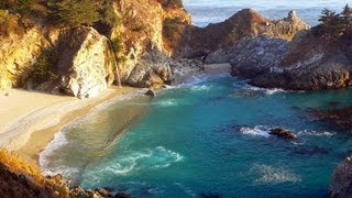 ♥♥ Relaxing 3 Hour Video of a Waterfall on an Ocean Beach at Sunset