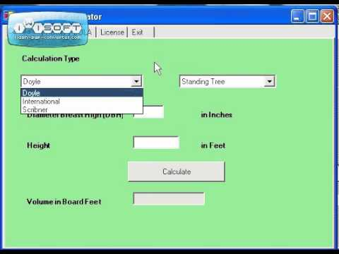 Board feet calculator demo youtube for How to calculate board feet in a tree