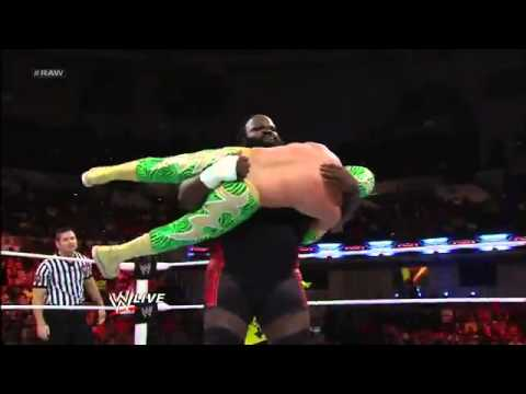 Sin Cara Vs Mark Henry - Wwe Raw 2 18 13 (w  The Great Khali) video