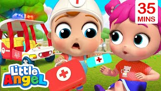 Baby John To The Rescue | Wheels On The Ambulance & More Little Angel Kids Songs