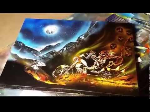 Ghost rider spray art