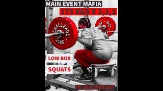 Low Box Squats 175kgsX3,3,1=7reps   #rhinomight #powerbuilding #strengthtraining