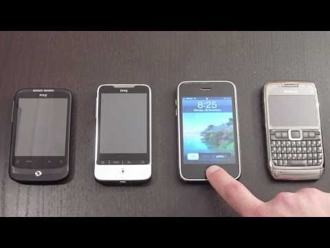 HTC Wildfire vs HTC Legend vs Apple iPhone 3Gs vs Nokia E71 - Form Comparison