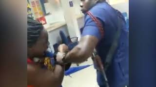 Outrage as police officer beats up woman holding baby
