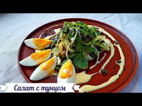 Салат с Тунцом. Простой, Вкусный, Легкий Рецепт Салата без майонеза.
