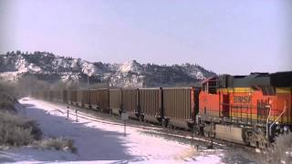Winter in Eastern Montana Part 1- BNSF SD70ACe's, Boeing 737's and More!