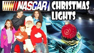 A Nascar Christmas! Lights Show, Driving On Race Track + Bumper Cars Challenge