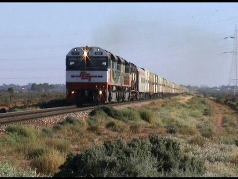 Australian trains ; The big white train approaching Port Augusta