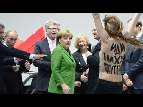 FEMEN give Putin and Merkel an eyeful in Hanover - no comment