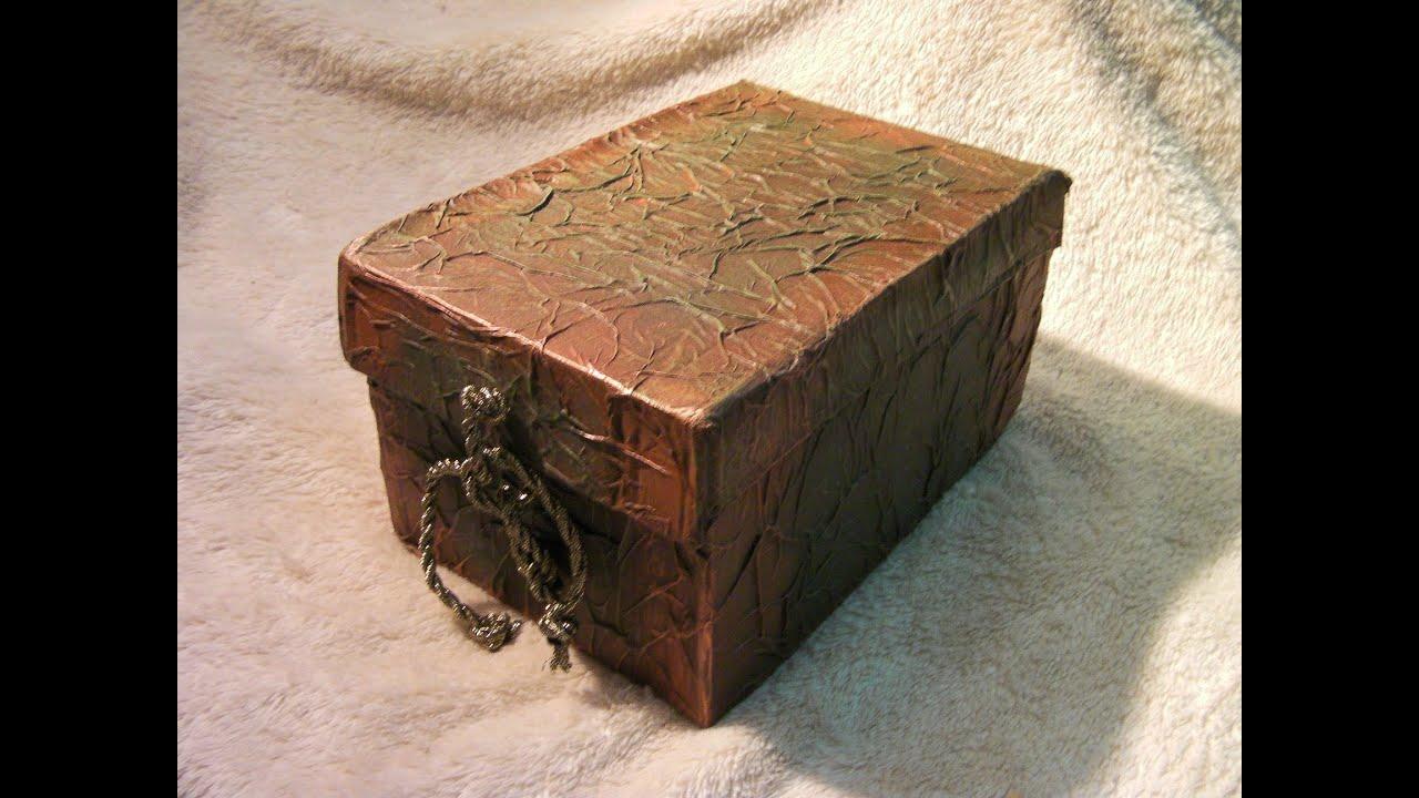 Diy caja imitacion de cuero reciclada imitation leather for Cajas de carton decoradas
