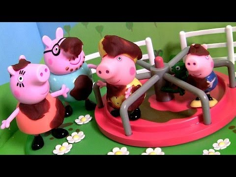Peppa Pig Roundabout Playground Muddy Puddles Playset Play-Doh Mummy Daddy Nickelodeon toys