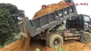 Phương tiện giao thông Xem ô tô ben và máy xúc Doosan 140 đào và chở đổ đất ☆ Đỗ Đức Quyền