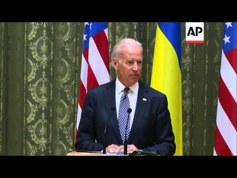 Vice President Joe Biden addressed the ongoing crisis Ukraine, urging leaders the United States is p