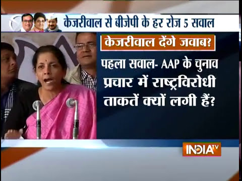BJP poses 5 questions at AAP during a PC at Party Office