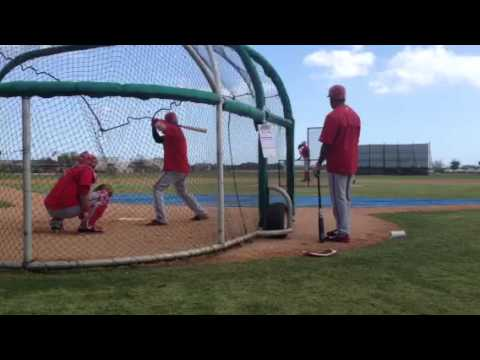 Bryce Harper takes his cuts off Stephen Strasburg at Nationals spring training