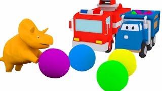 球和蹦床:和恐龙戴诺学习车辆 👶 幼儿教育卡通