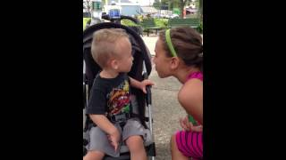 sister tries to kiss her baby brother, but then this happened...