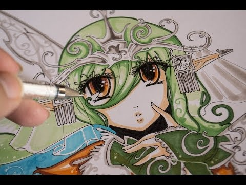 Drawing Manga Fairy with Touch three markers