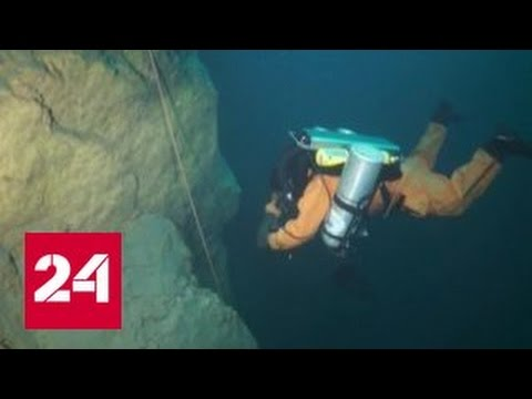 Голубое озеро: первые кадры подводных съемок