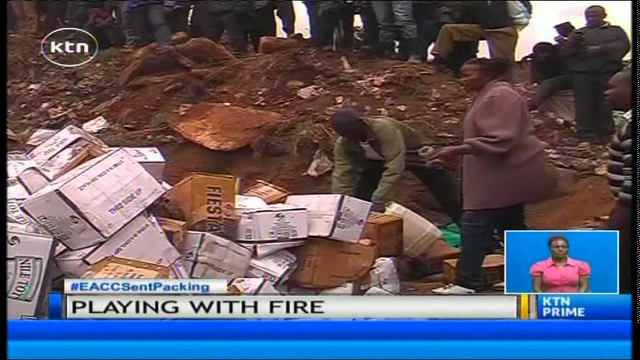 Watch: Kenyan politician escapes death as he set brew alight