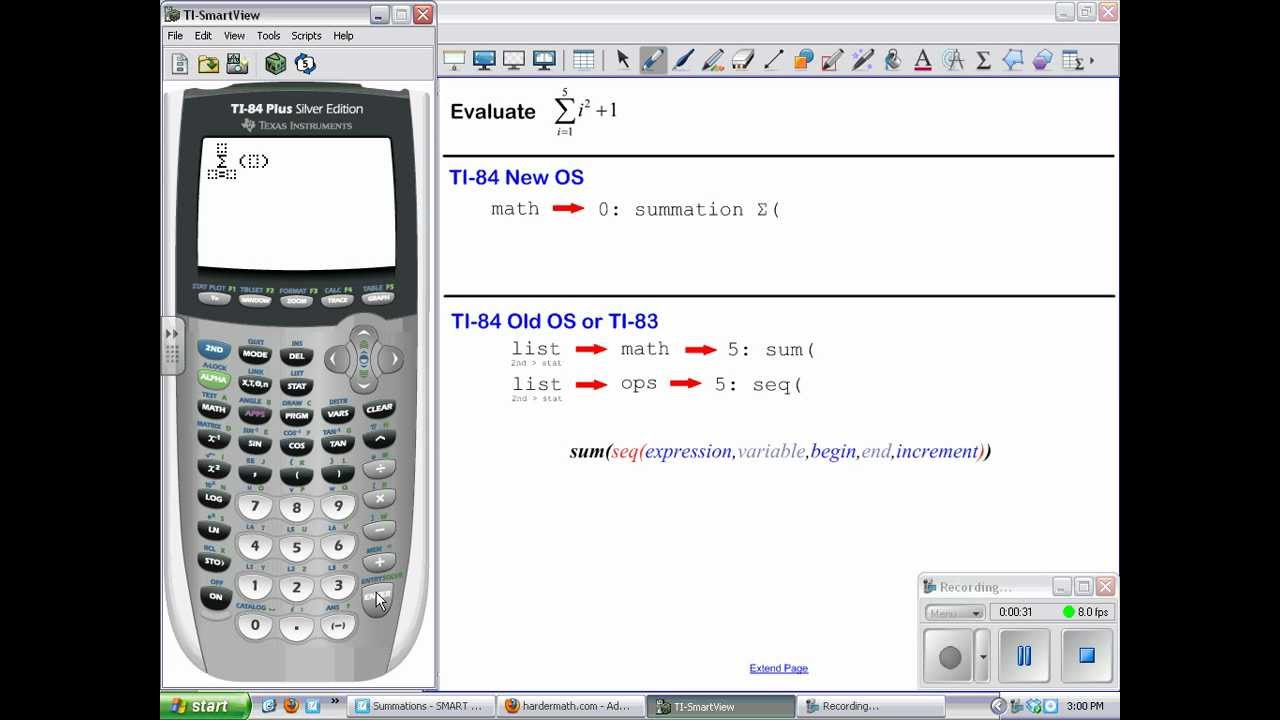 how to use summation on ti 84
