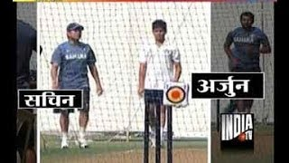 Watch Sachin Tendulkar's practice session with son Arjun at Wankhede