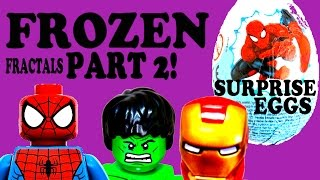 SPIDER MAN IRON MAN HULK -Surprise Eggs -Frozen Fractal LEGOS Part 2!